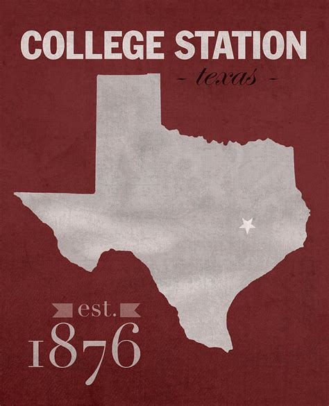 texas a and m map texas a and m university aggies college station college town state map poster series no 106