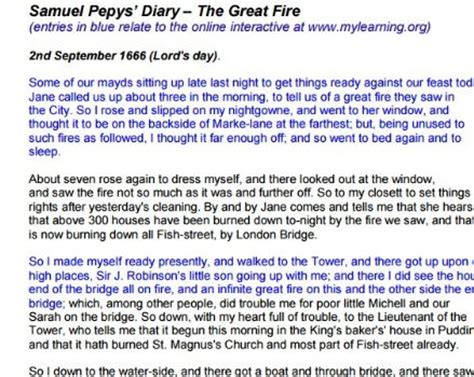 printable diary extracts samuel pepys and the great fire of london of 1666