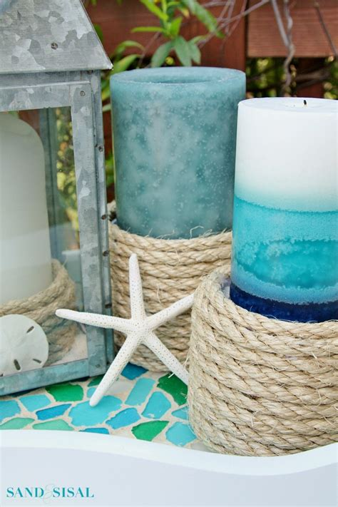 rope candle holders for summer sisal rope candle holders sand and sisal