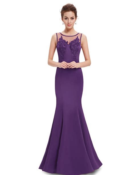 Dress Maxi Purple Elegan purple neck mermaid maxi evening dress pretty wholesale