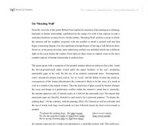 Mending Wall Theme Essay by Mending Wall Essay Topic