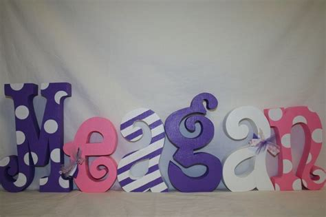 wood letters pink and purple nursery letters 6 letter