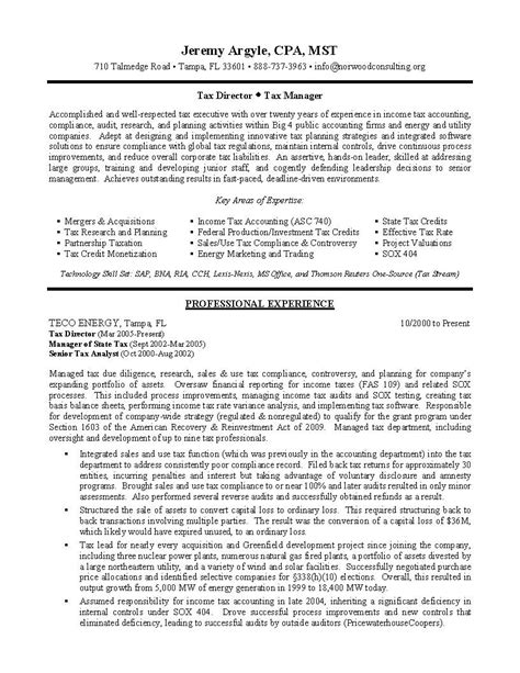Tax Director Sample Resume  Professional Resume Writing