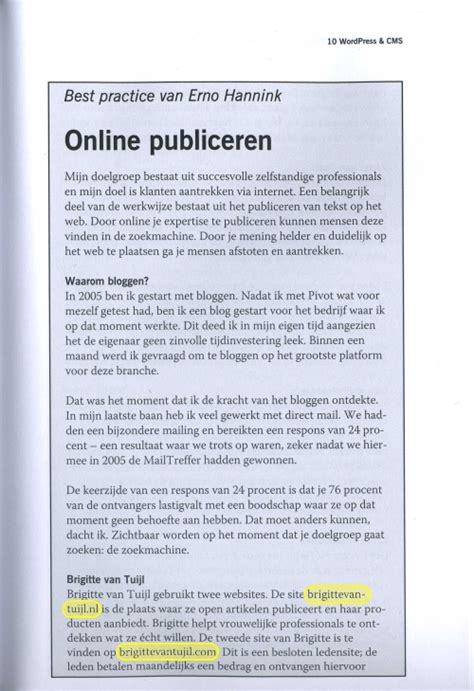 layout van een artikel erno hannink in de media