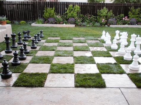 backyard chessboard patio this yard becomes the ultimate