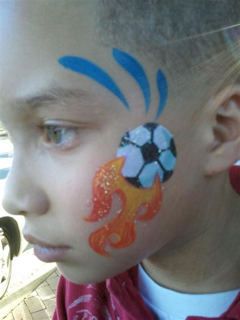soccer ball with flames boy s face painting by let s 10 best images about sports face paint designs on
