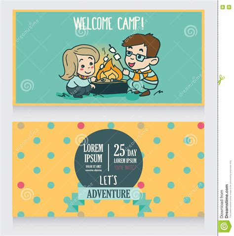 adventure time birthday card template welcome summer c banners template vector