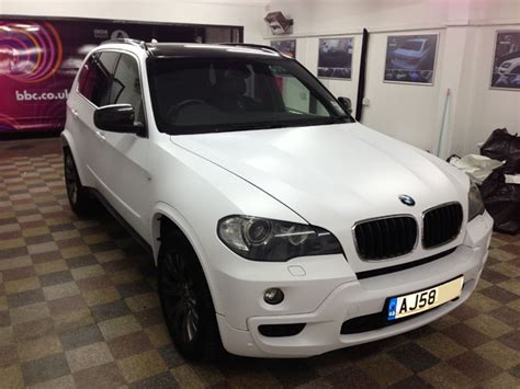 white wrapped cars bmw x5 wrapped matte satin white from black by wrapping