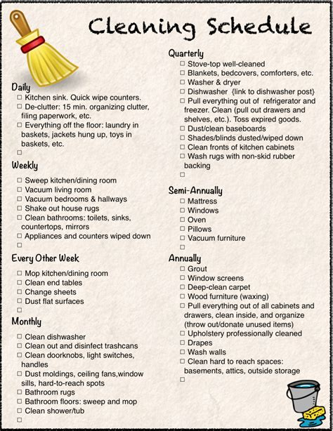 free printable cleaning calendar and checklist the