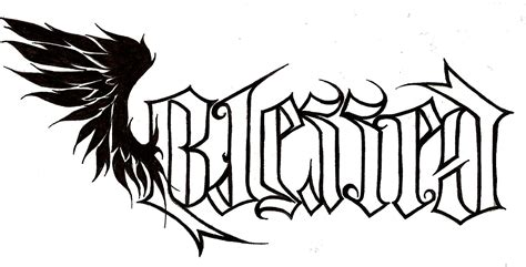 tattoo lettering with angel wings ambigram blessed lettering with wing tattoo stemncil by