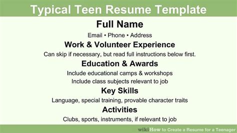 how to write a resume for teenagers how to create a resume for a 13 steps with