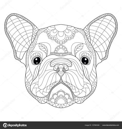 stress pattern in french french bulldog puppy head zentangle stylized vector