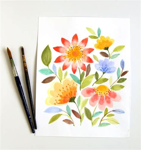 pretty painted floors with flower designs paint watercolor flowers in 15 minutes