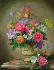 Yellow Ceramic Vase Albert Williams Peonies And Irises In A Ceramic Vase Art
