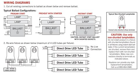 keystone  foot dimmable led  tube  bypass ballast replace fluorescent