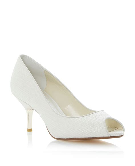 Dunes Perfume Peep Toe Heel by Dune Decora Peeptoe Kitten Heel Court Shoes In White Lyst