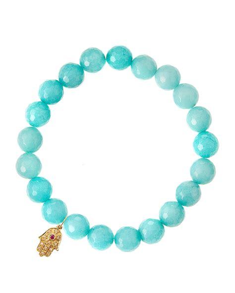 sydney evan aqua jade beaded bracelet with 14k gold hamsa