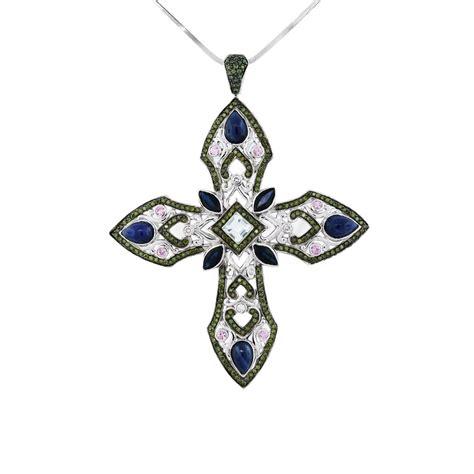 14k White Gold Cross Pendant 14k white gold large multi gemstone cross pendant
