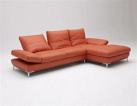 modern orange couch orange sectional sofa 2315b modern orange leather