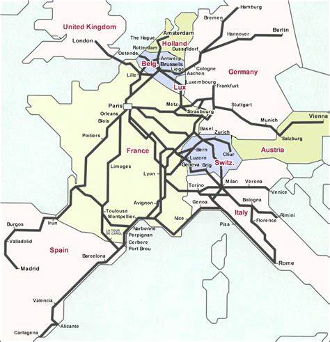 rail map of europe is the rail hub to reach other european countries
