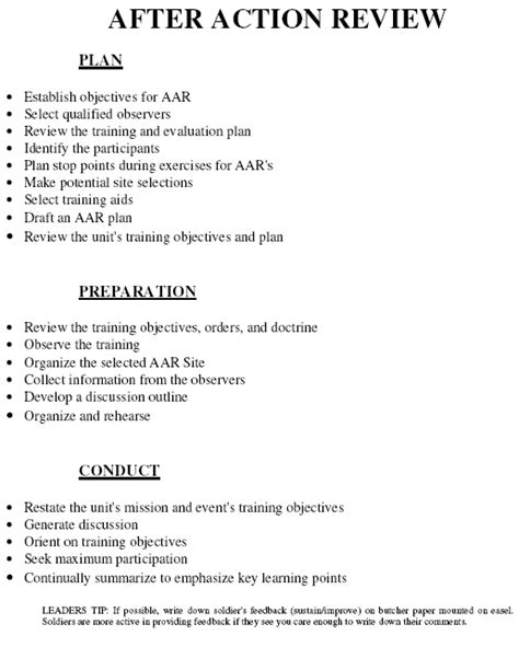 army aar template after review armystudyguide