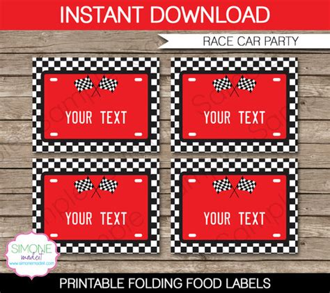 printable race car name tags race car food labels buffet tags tent cards by simonemadeit