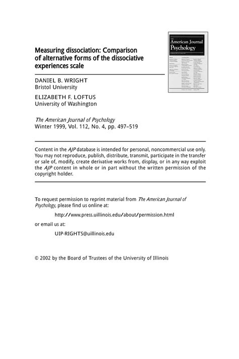 (PDF) Measuring Dissociation: Comparison of Alternative