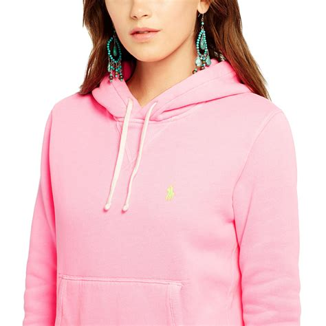 Hoodie Pink Polos lyst polo ralph fleece hoodie in pink