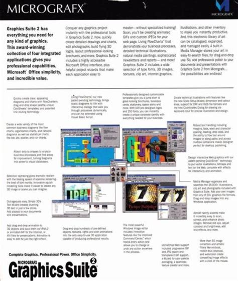 micrografx flowcharter micrografx graphics suite 2 manual pc cd picture