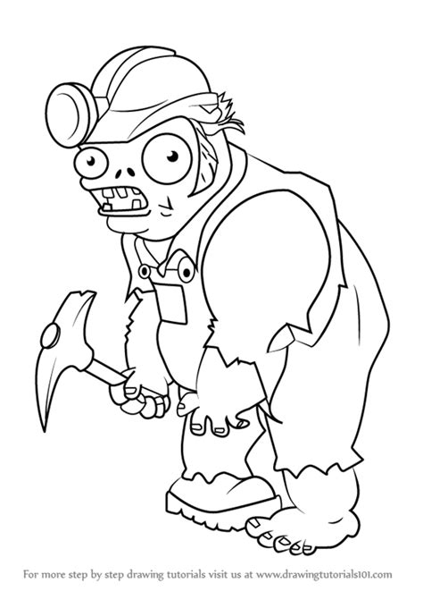 tutorial plants vs zombie learn how to draw digger zombie from plants vs zombies