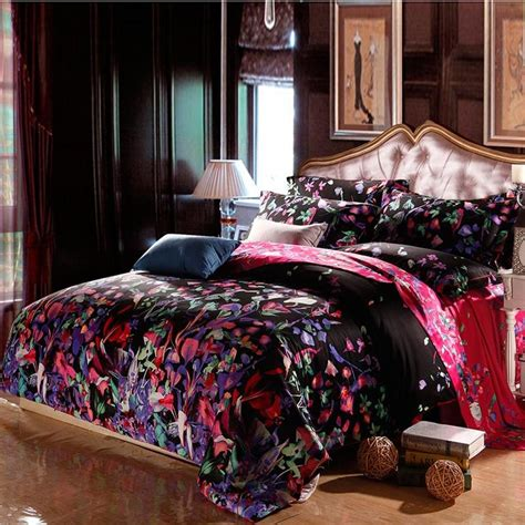 black purple  red green country floral waverly toile full queen size bedding sets