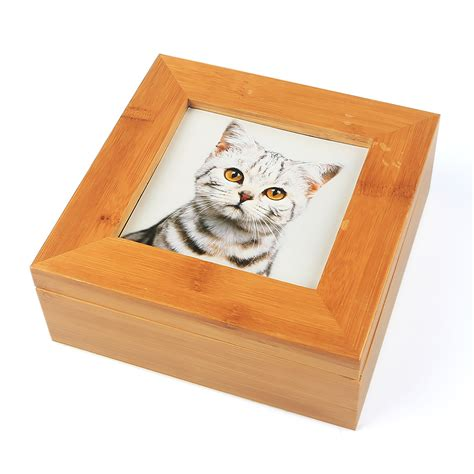 ashes box ipettie solid wood pet cremation ashes urn photo cat ashes casket box bamboo in