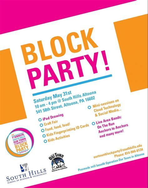Community Block Party May 31 Operation Our Town Block Flyer Template Summer