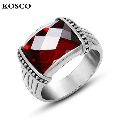 red stone rings shop for red stone rings on polyvore titanium steel garnet red blue zircon inlaid stone gothic