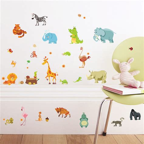 Jungle Animals Wall Stickers For Kids Rooms Safari Nursery Safari Nursery Wall Decals