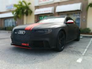 audi rs 5 wrapped in 3m matte black with matte stripes