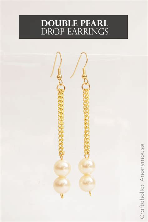 craftaholics anonymous diy double pearl drop earrings
