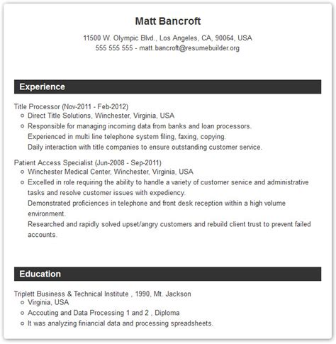 Build Your Resume Online For Free resume builders resume builder