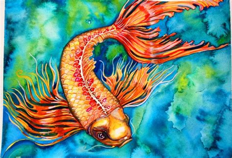 koi fish watercolor paintings koi fish original watercolor painting 100 00 via etsy