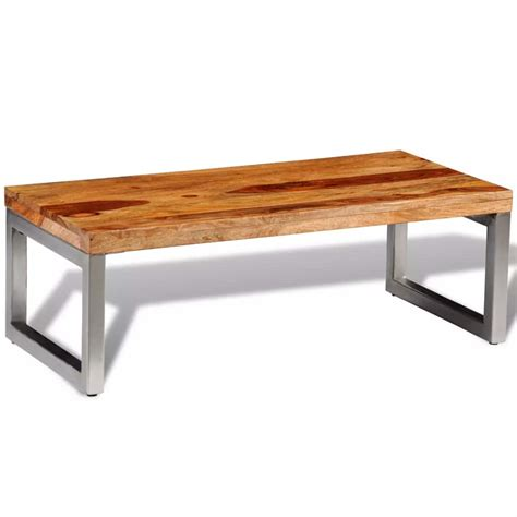 solid coffee table vidaxl co uk solid sheesham wood coffee table with steel leg