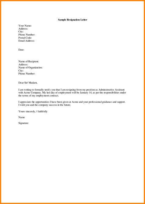 Resignation Letter Basic by 10 Basic Resignation Letter Sles Dialysis