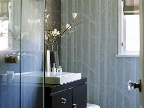 Modern Bathroom Wallpaper Woods Wallpaper Contemporary Bathroom Erinn V Design