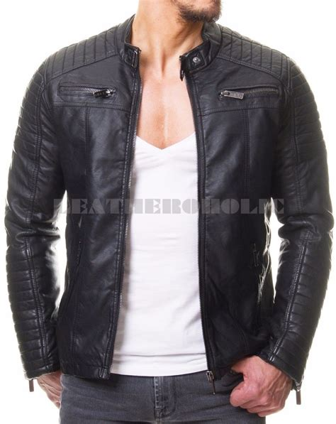 biker jacket sale mens vintage black genuine leather jacket slim fit real