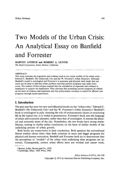 thesis model two models of the crisis an analytical essay on