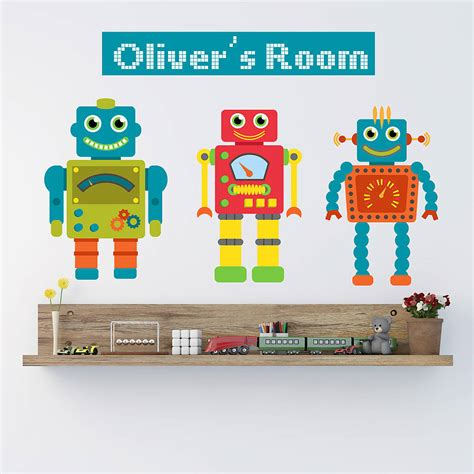 robot wall sticker personalised robot wall stickers by parkins interiors