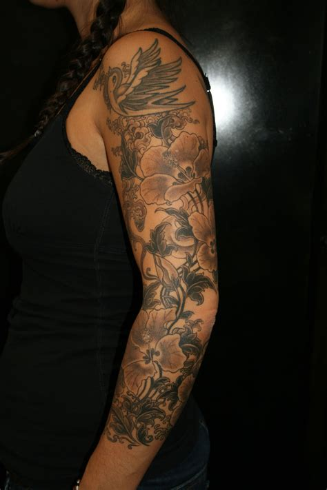 full arm sleeve tattoos floral sleeve cool tattoos bonbaden
