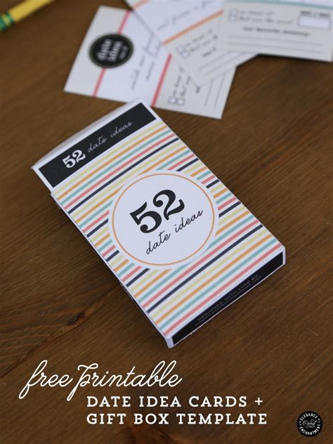 card diy template 52 date ideas printable cards gift box