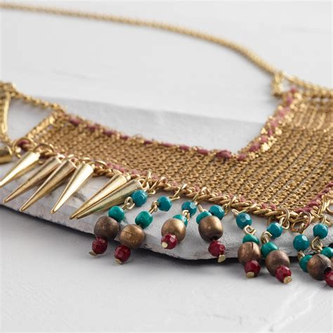 Turquoise Statement Necklace gold mesh and turquoise statement necklace world market