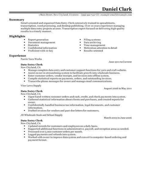 data entry resume sles best data entry clerk resume exle livecareer
