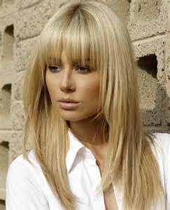 hairstyles with fringe bangs full fringe long hairstyles with blonde shades full dose